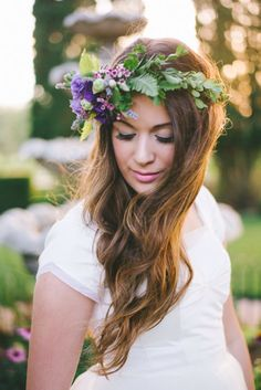 Bridal floral crown. Photo by Jenna Bechtholt Photography. #floralcrown
