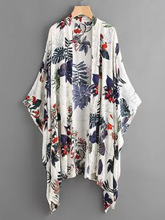 Poncho Kimono imprimé tropical -French SheIn(Sheinside)