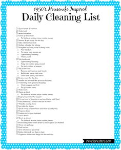 A '1950's Housewife' Daily Cleaning List newbie nesters