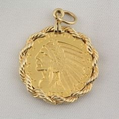 Indian Head Liberty Gold Coin Pendant  $639.00