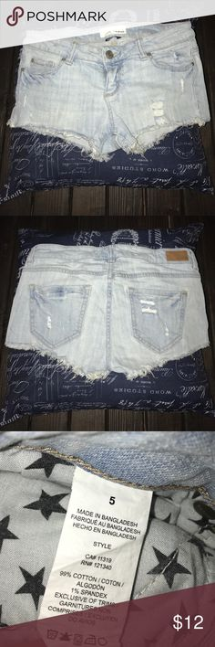 GARAGE Jean shorts Garage Light denim distressed shorts. Size 5. Only worn once. They're really short (booty shorts) low waist. Garage Shorts Jean Shorts