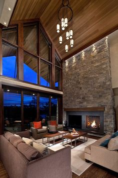 tow storey lakehouse living room