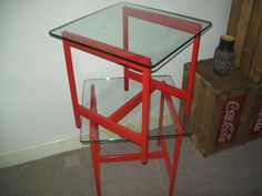 Pair Industrial Work Bench Style Glass Top Red Metal Coffee Side/End/Lamp Tables