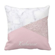 Elegant girly rose gold glitter white marble pink throw pillow - modern gifts cyo gift ideas personalize