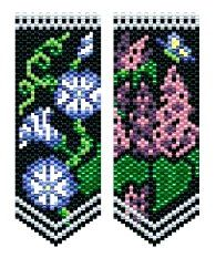 Morning Glory & Lilac flower panels pattern.   Lilacs play host to butterflies & bees all day long while Morning Glories only do brunch. Large symbol/color charts with 11 Delica color numbers listed. Great for mini amulets, bookmarks, necklaces, trim lampshades, more! These panels are the same size & use many of the same colors as my other flower panels & can be used interchangeably with those patterns.  Project Type: Bead Stitch: flat even count peyote