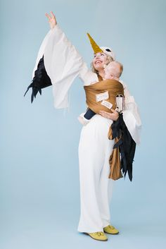 stork and special delivery package Halloween costume. Mommy and baby.