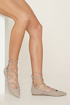Faux Suede Lace-Up Flats | Forever 21 - 2000150043