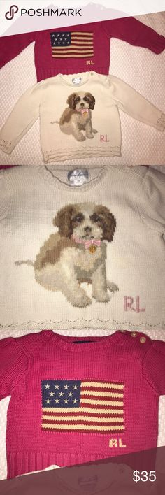 Ralph Lauren Sweater Bundle 9M Excellent Condition!!! No stains, rips or tears.  Non smoking home.   Pink sweater with American flag Cream sweater with puppy  Check out my other listings for combined shipping and bundle discounts.  Thanks for looking! Ralph Lauren Shirts & Tops Sweaters
