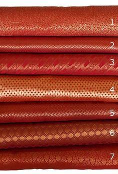 Bundle of Red Indian silk brocade fabric set of 7 fat quarters