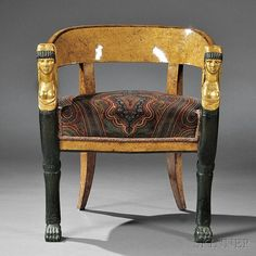 Russian Birch-veneered Neoclassical Curricle Chair, early century, with a rounded Karelian birch-veneered backrest on an upholster Regency Furniture, Antique Furniture, Furniture Styles, Furniture Design, Neoclassical Interior, Chairs For Sale, Chair Sale, Vintage Interiors, Empire Style