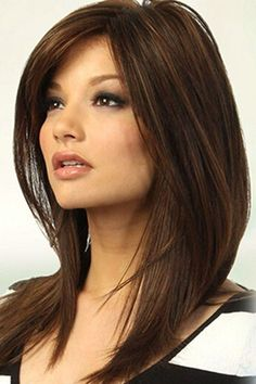 Brown Medium Straight Side Part Synthetic Wig @ Synthetic Wigs For Women. - Brown Medium Straight Side Part Synthetic Wig @ Synthetic Wigs For Women-Synthetic Hair,Syn - Frontal Hairstyles, Hairstyles With Bangs, Straight Hairstyles, Hairstyle Ideas, Funny Hairstyles, Oblong Face Hairstyles, Side Part Hairstyles, Black Hairstyles, Medium Hair Styles