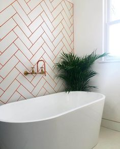 25 Trendy Colorful And Metallic Grout Ideas Red Things red color grout Bathroom Red, Budget Bathroom, Bathroom Colors, Small Bathroom, Bathroom Wall, Colourful Bathroom Tiles, Bathroom Ideas, Tile Bathrooms, Downstairs Bathroom