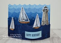 "Nicole Wilson Independent Stampin' Up!® Demonstrator - The Dimensionals ""For the Guys"" is the theme for August using Sailing Home and Itty Bitty Birthdays #stampinup #thedimensionals #sailinghome #smoothsailing #ittybittybirthdays #whaleofatime #bendycard #bendicard #triplebendycard #nautical #malebirthday #malecard #masculine #nicolewilson #3dpapercrafttutorialsbythedimensionals #thedimensionalsaugust2020tutorialbundle #tutorial #sailboats #birthdaycard"
