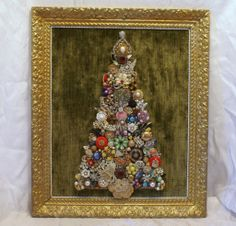 antique old jewelry tree framed