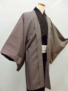 【送料無料】【新品】化繊男物袷仕立て羽織LLサイズ黒とグレージュの市松模様赤坂店在庫