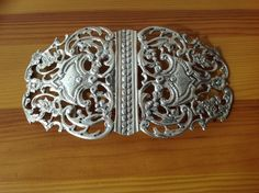 Sterling Silver Pierced & Engrave Decorated Ladies or Nurses Belt Buckle dated 1893 by WFG, LONDON
