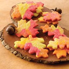 Sugar cookies with combined red, yellow and orange dough make colorful cookies to serve during the fall season.