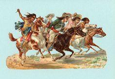 COWBOYS & INDIANS on Horseback Victorian Scrap Large Die Cut Wonderful Color. $14.25, via Etsy.