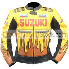 Suzuki Fire Yellow Motorcycle Leather Jacket features YKK zip fastening, nehru collar with tab button, back zipper for easy attachment with trouser, pads elbows shoulders and back and two inside pockets.