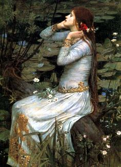 Ophelia from Shakespeare's Hamlet by Pre- Raphaelite artist John William Waterhouse Counted Cross Stitch Chart Pattern. John William Waterhouse, was an English painter known for working in the Pre-Raphaelite style. John William Waterhouse, John William Godward, Art And Illustration, Pre Raphaelite Paintings, John Everett Millais, Pre Raphaelite Brotherhood, Dante Gabriel Rossetti, Classical Art, Art Plastique