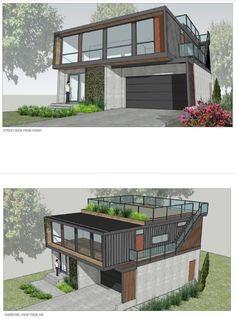 build is for a Honomobo over a garage foundation with junior accessory dwelling in first floor and a rooftop deck.This build is for a Honomobo over a garage foundation with junior accessory dwelling in first floor and a rooftop deck. Tiny House Design, Modern House Design, Building A Container Home, Container Buildings, Storage Container Houses, Container Home Plans, Cargo Container Homes, Shipping Container Home Designs, Shipping Containers