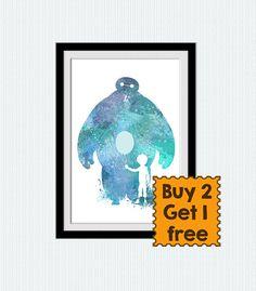 Watercolor Baymax and Hiro, Baymax poster, Big Hero 6, Disney print, Superhero watercolor print, bedroom decor, Kids room wall poster  W183