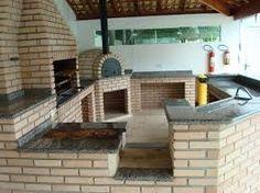 Resultado de imagem para area de churrasqueira com fogão a lenha