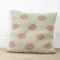 coussin jacquard motif pois vieux rose vert amande handmade désaccord