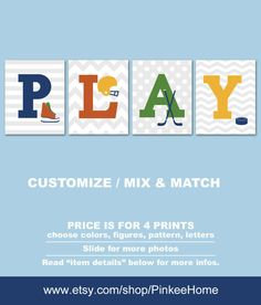 Hockey Nursery Art Playroom Decor Sports Theme Kids Room Prints Toddler For Boys