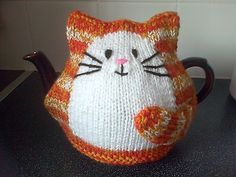 hand knitted ginger striped tea cosy...ebay