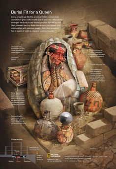 Inside a Wari Tomb - Peru. Click for interactive to see all the layers of mummification. This Wari noblewoman went to her grave with wealth and in splendor, dressed in a finely woven tunic and shawl, and adorned with precious jewels. NGM June 2014.