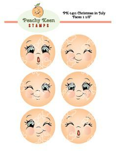 Christmas in July Faces 1 18 Peachy Keen Stamps Home of the original clear peachtinted highquality whimsical face stamps Doll Eyes, Doll Face, Christmas In July, Christmas Crafts, Whimsical Christmas, Peachy Keen Stamps, Flower Pot People, Cartoon Eyes, Snowman Faces
