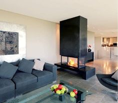 Self-supporting fireplace / contemporary Open Fireplace, Little Houses, Apartment Design, Home Living Room, Interior Design Living Room, Interior Architecture, Family Room, House Design, Barbacoa