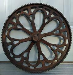 "Cast Iron Industrial GEAR SPROCKET Lamp Base STEAMPUNK 6/"" Pulley Wheel Rustic"