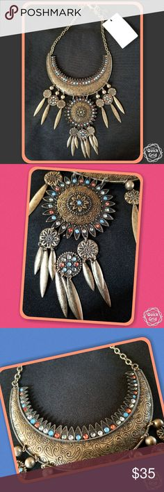 MNG by MANGO Indigo Dream Catcher Pennant Necklace MNG by MANGO  Indigo Dream Catcher  Pennant Necklace Mango Jewelry Necklaces