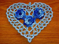 Baby Blue Heart with Blue Roses, Irish Crochet Heart, Heart Doily, Heart Pendant, Crochet Heart A Cotton Crochet, Irish Crochet, Hand Crochet, Crochet Baby, Day Countdown, Christmas Countdown, Christmas 2016, Crochet Thread Size 10, 3d Rose
