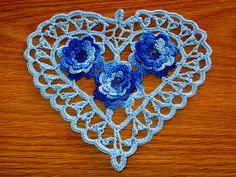 Baby Blue Heart with Blue Roses, Irish Crochet Heart, Heart Doily, Heart Pendant, Crochet Heart A Cotton Crochet, Irish Crochet, Hand Crochet, Crochet Baby, Day Countdown, Christmas Countdown, Christmas 2016, Crochet Thread Size 10, 3d Rose