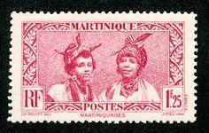 """Martinique  1939 Scott 160 1.25fr deep rose """"Martinique Women"""""""