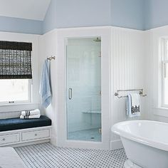 On the off-chance that we ever have a large bathroom, a place to sit down while I'm clipping my toenails or putting cream on my legs would be utterly fab. Of course, I also kinda want the washer and dryer to be in the bathroom, too, because warm fluffy towels fresh from the dryer feel heavenly.