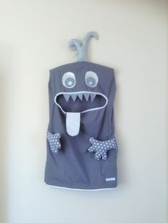 Monster Laundry/Toy Bag, Superb Grey & white 2 Eyed Friendly Monster, I'm a Pet, Bag, dress Up, Softie, Christmas present, unisex, teens by ColourMeldDesigns on Etsy