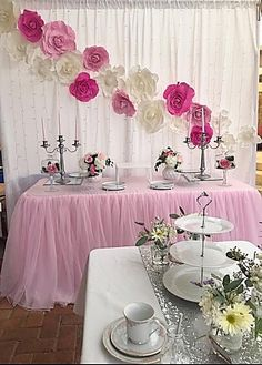 Pink and white Flower backdrop @stylish_soirees