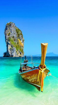 Cliff and boat in Krabi, Phuket, Thailand