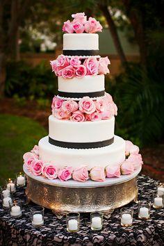 beautiful pink, black and white wedding #cake see more http://trendybride.net/the-ritz-carlton-sarasota-florida-real-wedding/