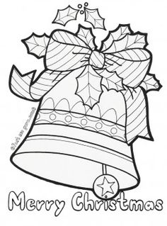 Printable christmas jingle bells coloring pages for kids.Christmas bell decorated with leaves and ribbon coloring book for preschool.juletegninger to print out