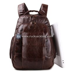 $139.99  17 inch Leather Rucksack Large Capacity Backpack