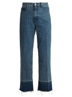 Rachel Comey's Legion jeans are a label signature. This washed-indigo pair sits high on the waist and falls to slim straight legs accentuated by ombré cuffs and raw hems. The cropped length works just as well with heels as it does flats.
