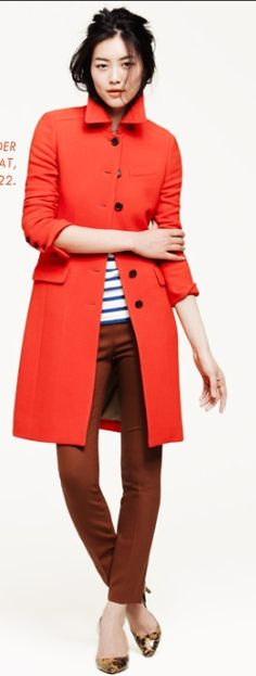Jcrew coat.  May be a little bright for fall but love the look.  If it comes in purple or green, I'm sold!