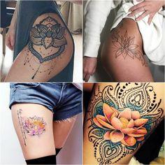 Тату Лотос на Бедре для Девушек | Мужские и Женские Тату и их Значения ☛ https://tattoo-ideas.ru #тату #татулотос #татудлядевушек #татудлямужчин #татуэскизы #татуцветы #tattoo