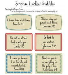 Free lunchbox scripture cards printable. Parenting with Purpose series at The Mosaic Life. http://www.leeanngtaylor.com/parenting-with-purpose-day-8-scripture-lunchbox-printables/