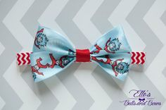 Handmade Dr. Seuss Bow Boutique Bow Thing 1 and Thing 2 Ribbon on Red, Chevron Elastic Headband by EllesBellsandBows on Etsy